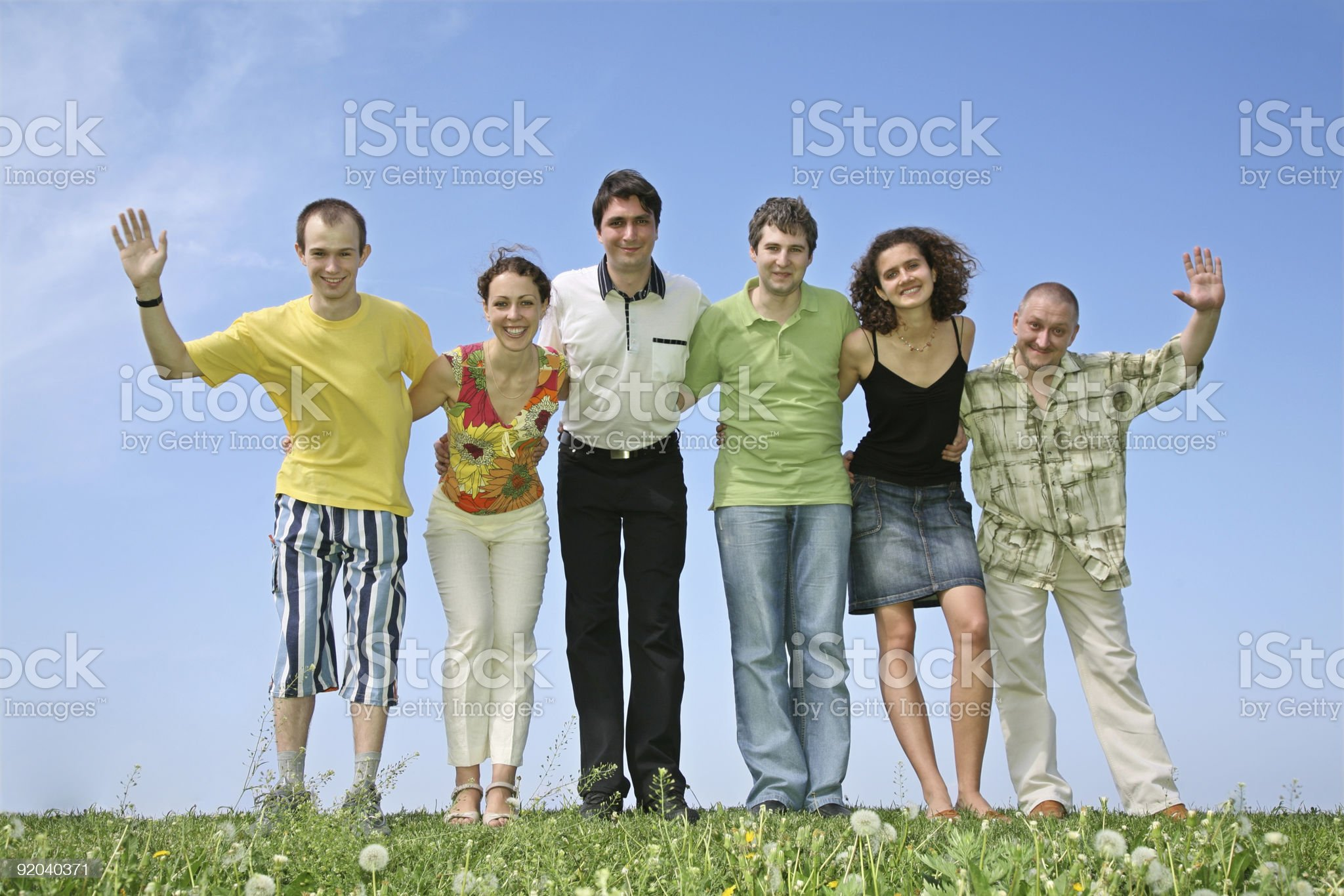 friends on grass royalty-free stock photo