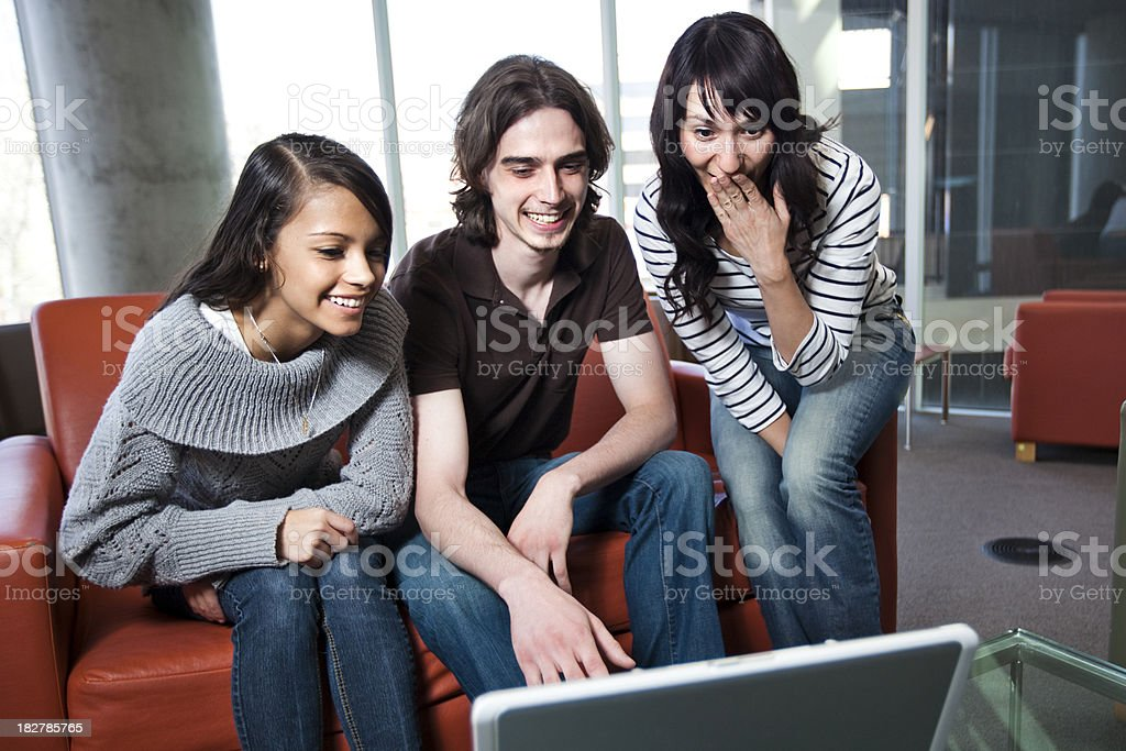 Friends on Laptop Computer stock photo