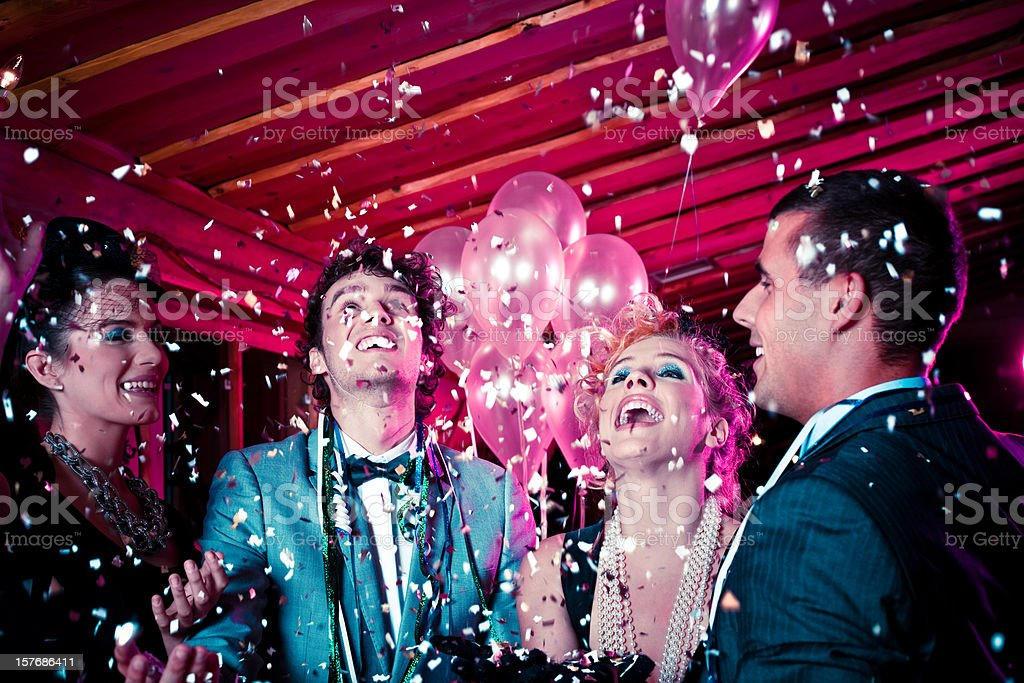 Friends on New Year's Eve royalty-free stock photo