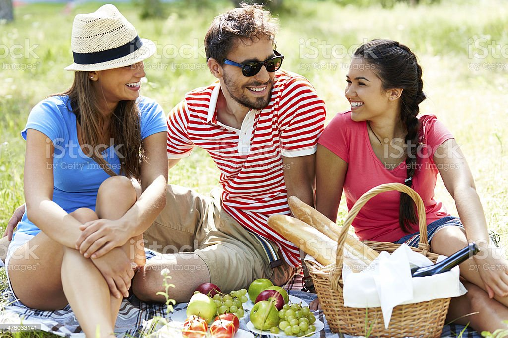 Friends on picnic royalty-free stock photo