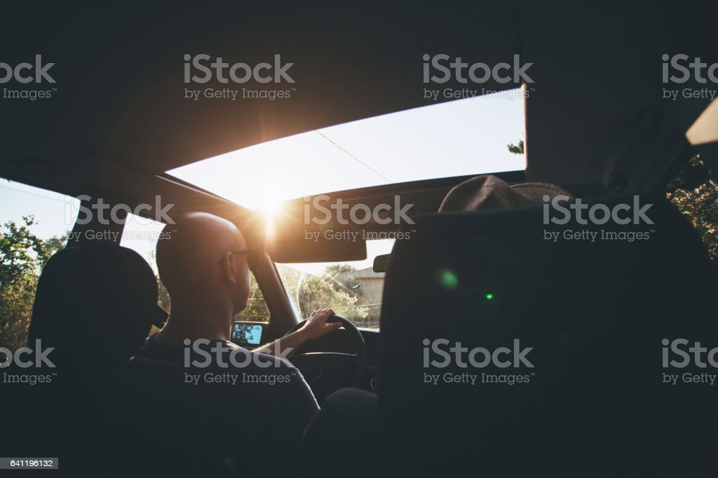 Friends on road trip stock photo