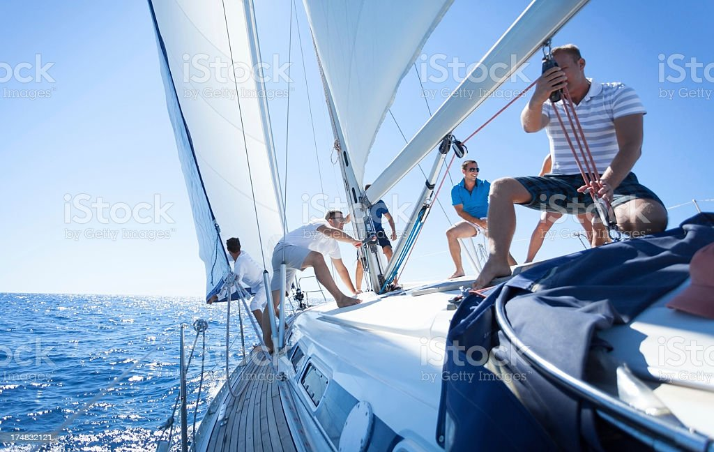 Friends on Sailing Boat stock photo