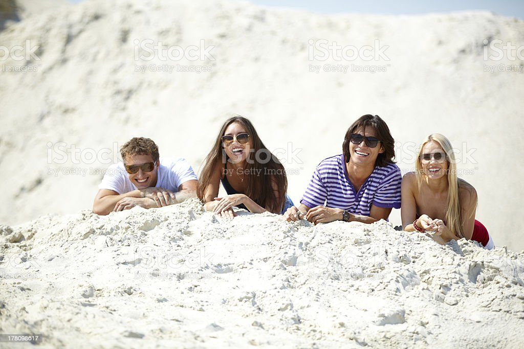 Friends on sand royalty-free stock photo