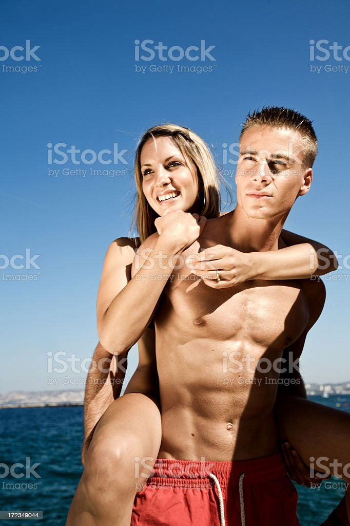 friends on the beach royalty-free stock photo