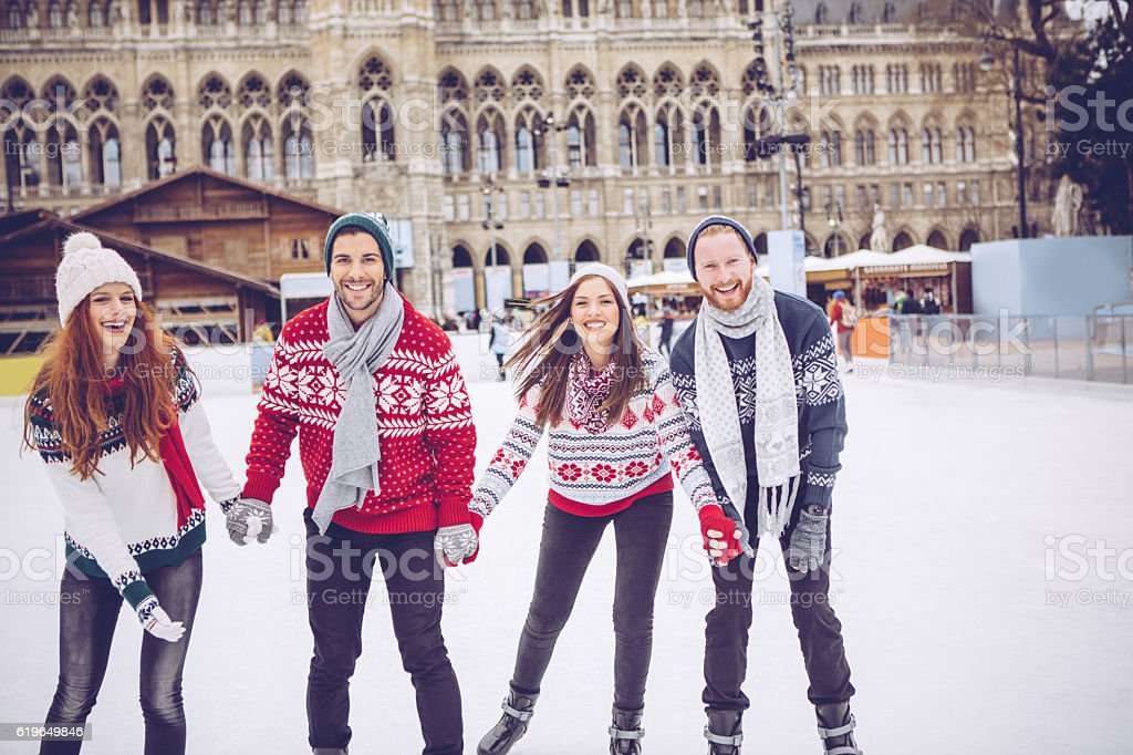 Friends on vacation for Christmas. stock photo