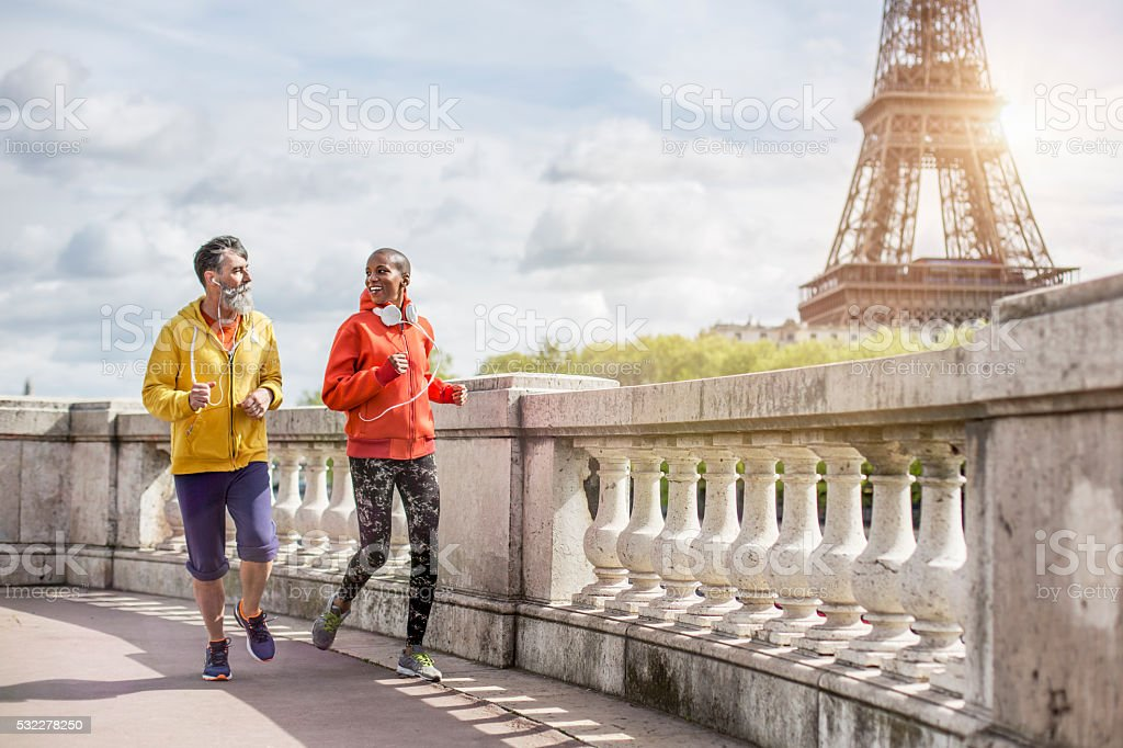 Friends out for a run stock photo