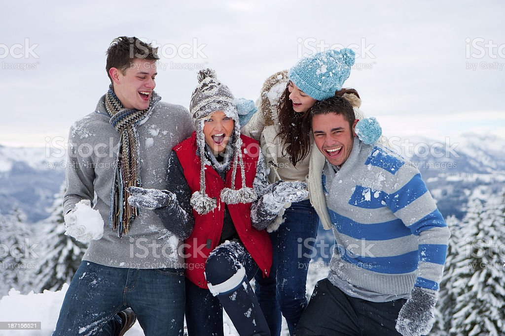 Friends Out In The Snow royalty-free stock photo