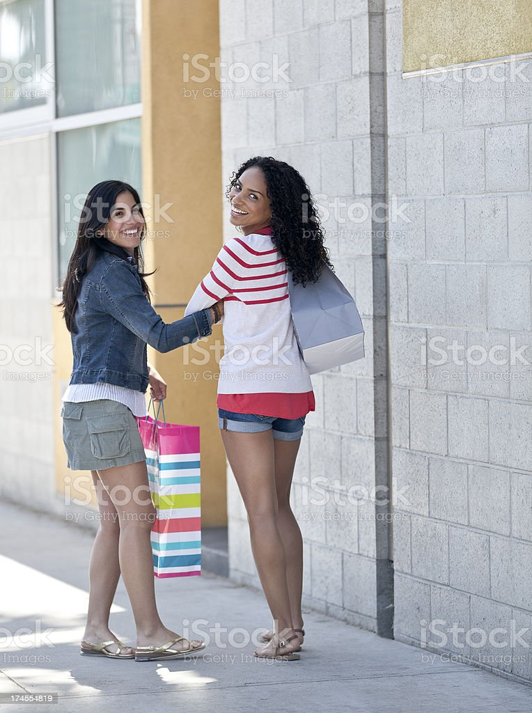 Friends out Shopping royalty-free stock photo