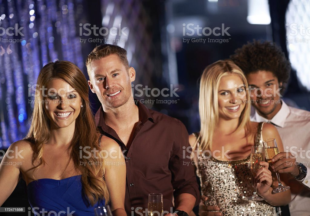 Friends out socializing royalty-free stock photo