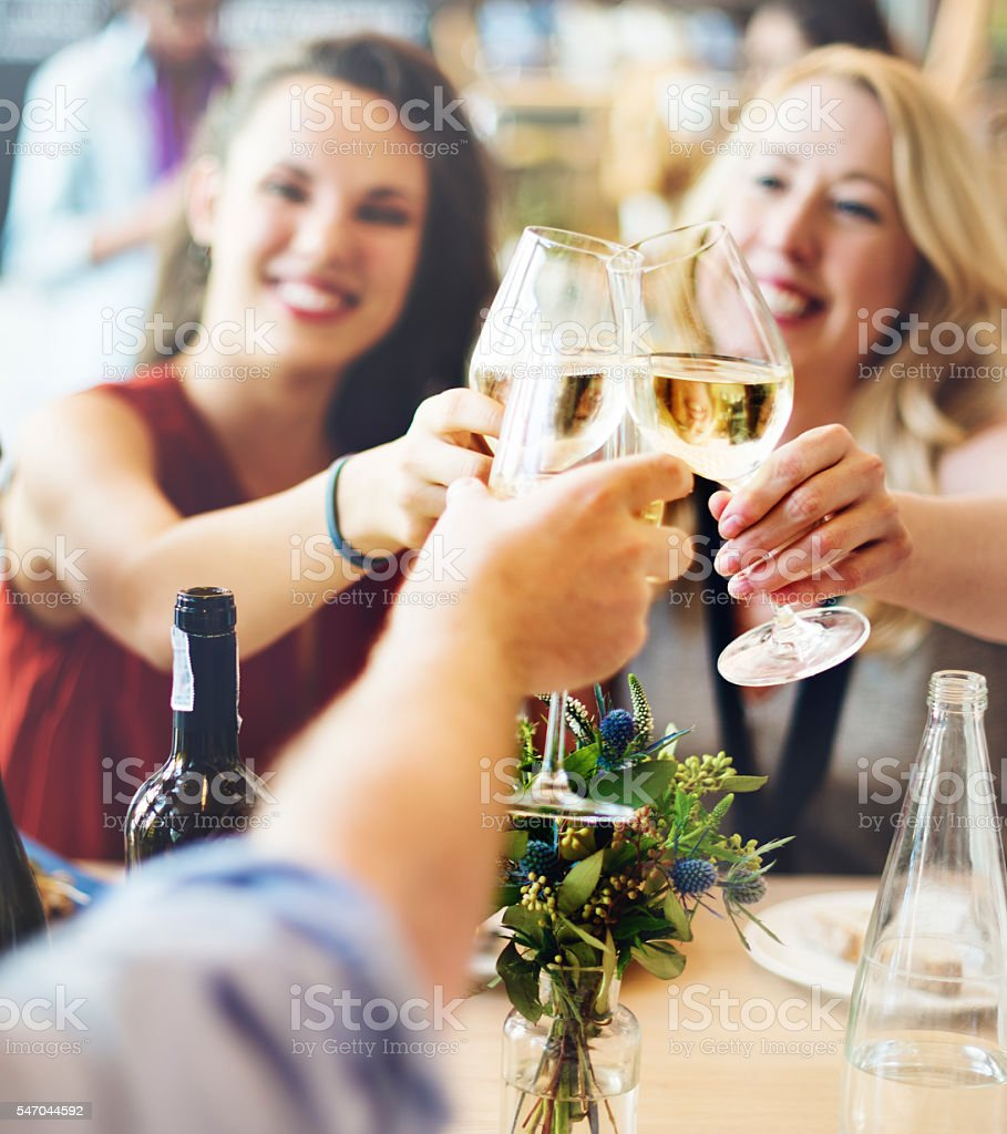 Friends Party Cheers Enjoying Food Concept stock photo