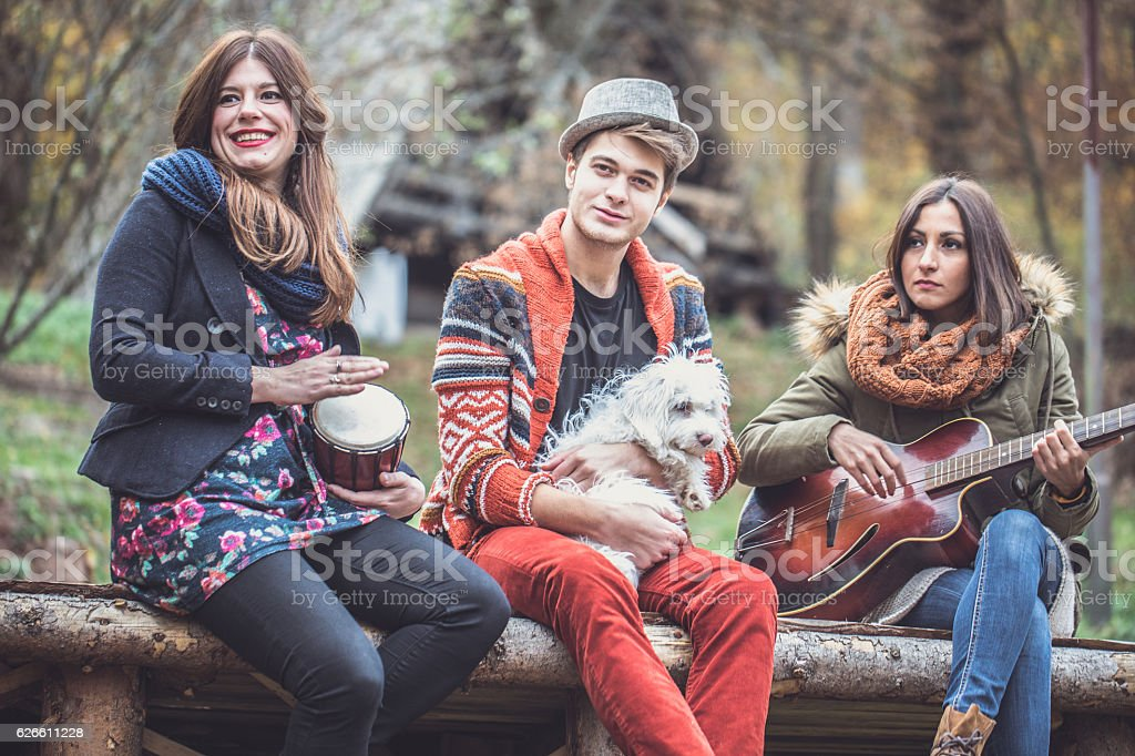 Friends playing music in park stock photo