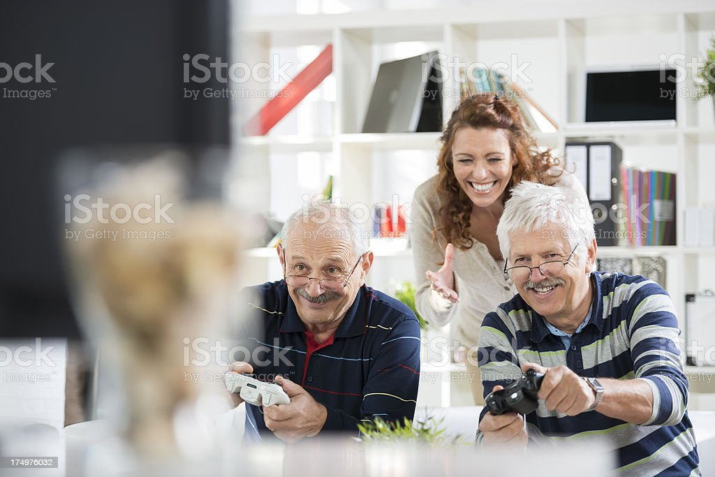 Friends Playing Video Games royalty-free stock photo