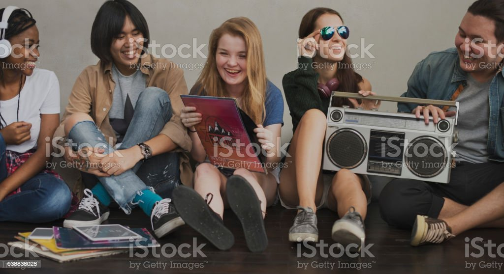 Friends Radio Boombox Sound Vintage Concept stock photo