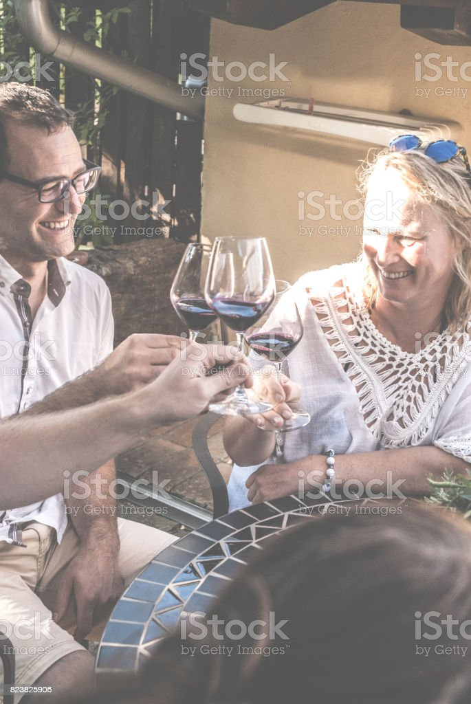 Friends Raising Toast With Red Wine stock photo