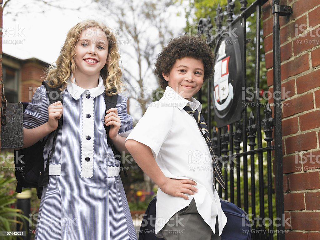 Friends Ready for School stock photo