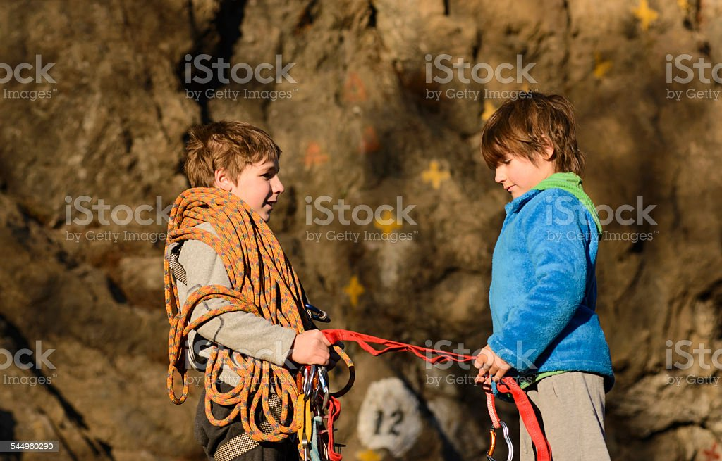 Friends Ready to Rock climbing stock photo