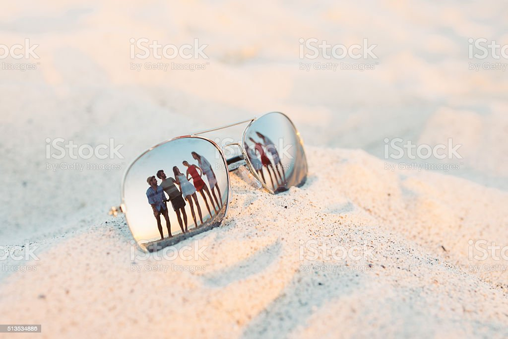 Friends Reflections On The Sunglasses stock photo