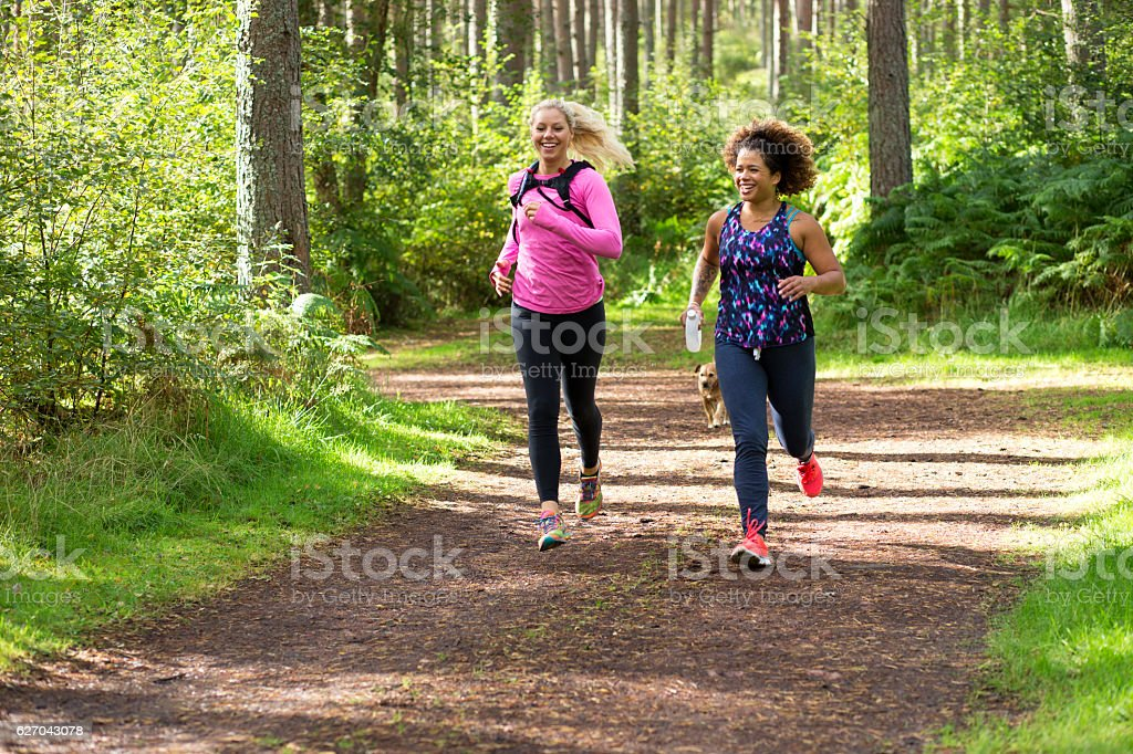 Friends Running Together stock photo