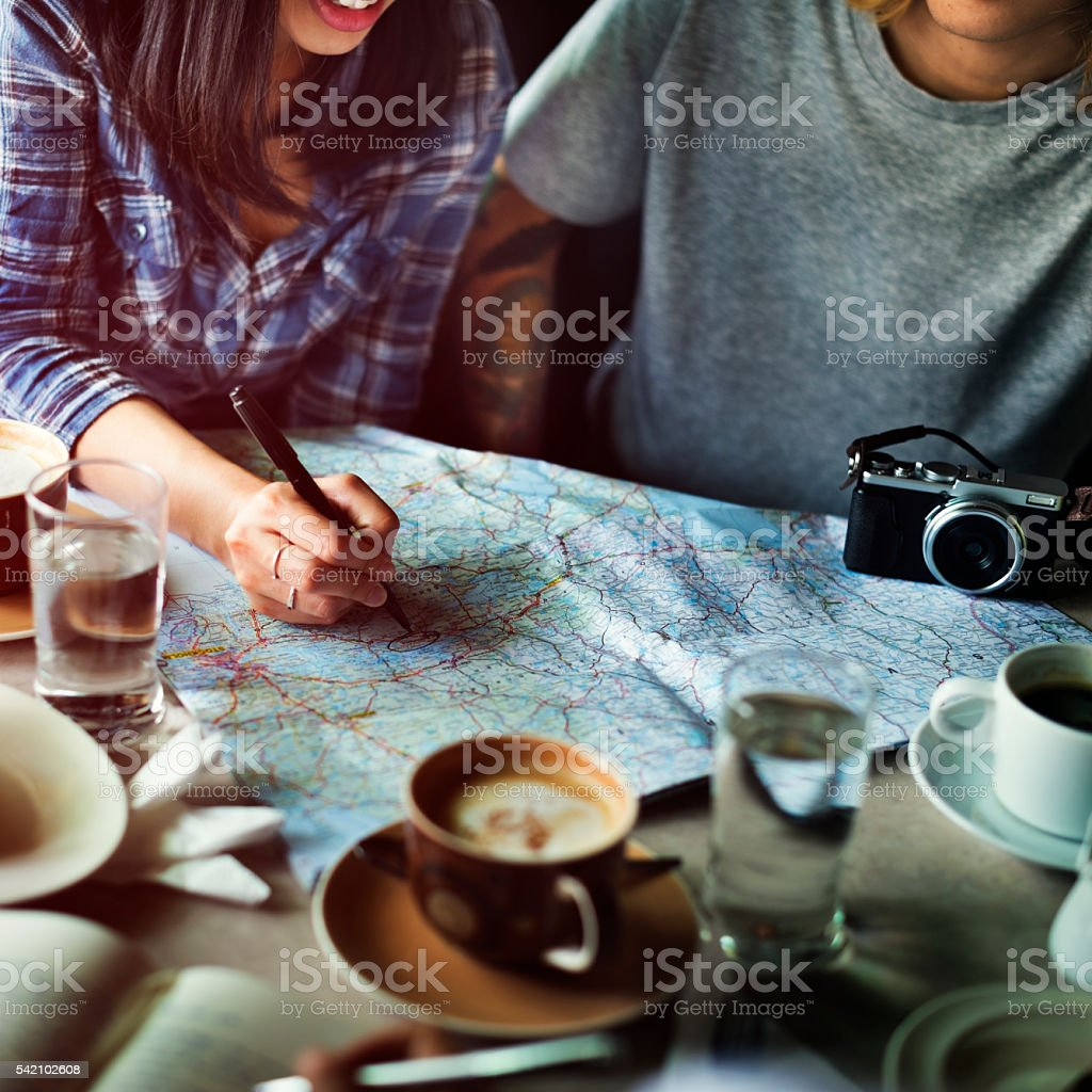 Friends Searching Location Relax Vacation Weekend Concept stock photo