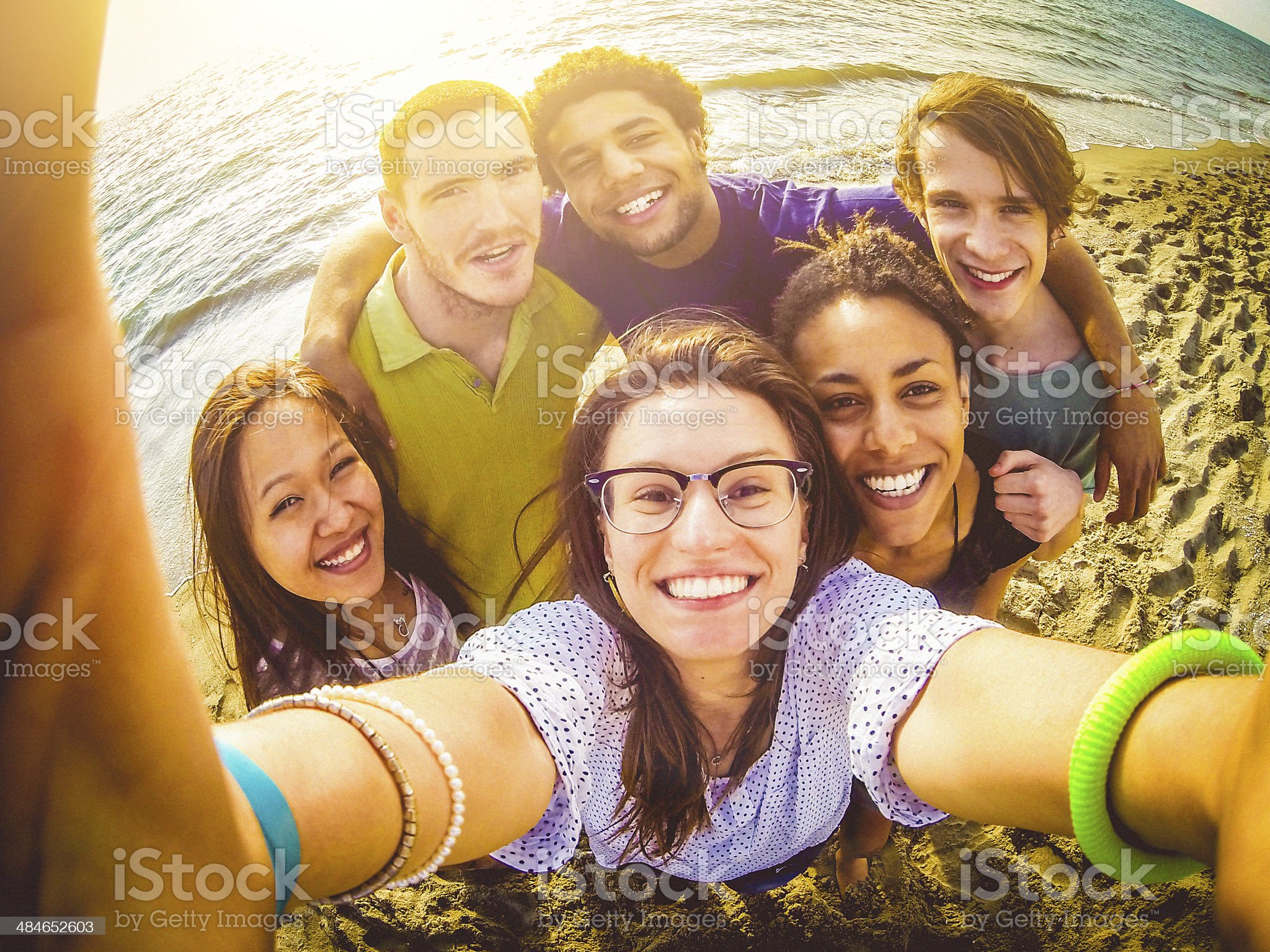 Friends self portrait on the beach royalty-free stock photo