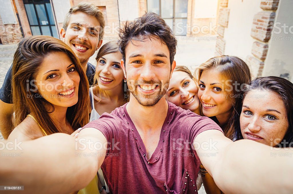 Friends Selfie In The City stock photo