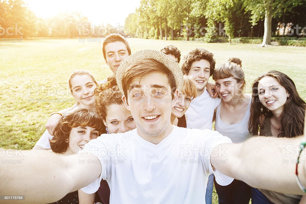 Friends Selfie In the Park stock photo