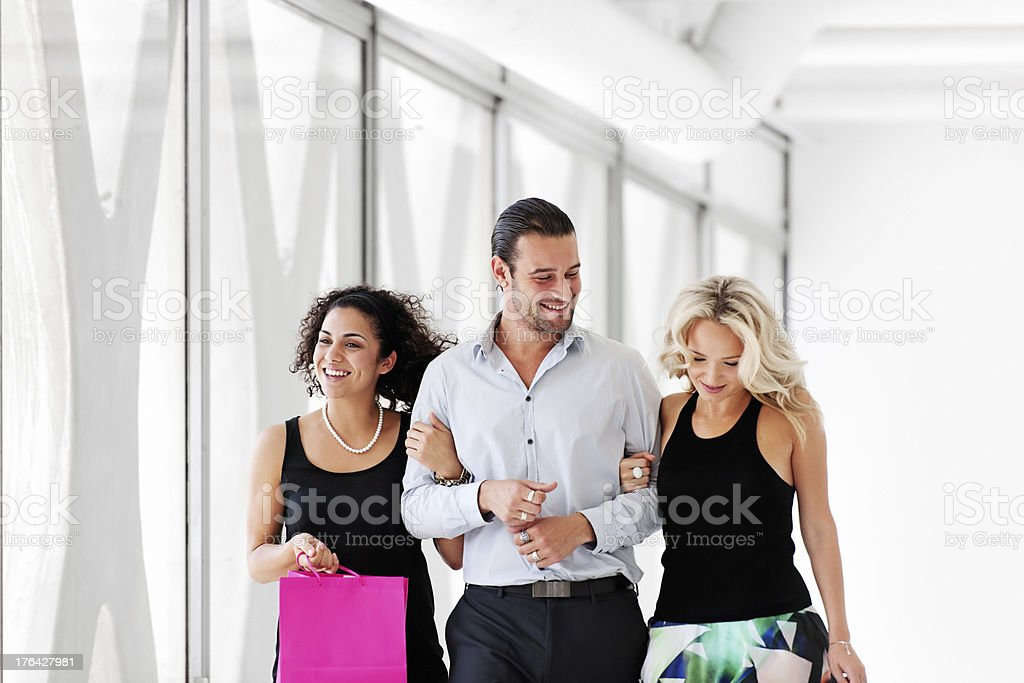 Friends shopping stock photo