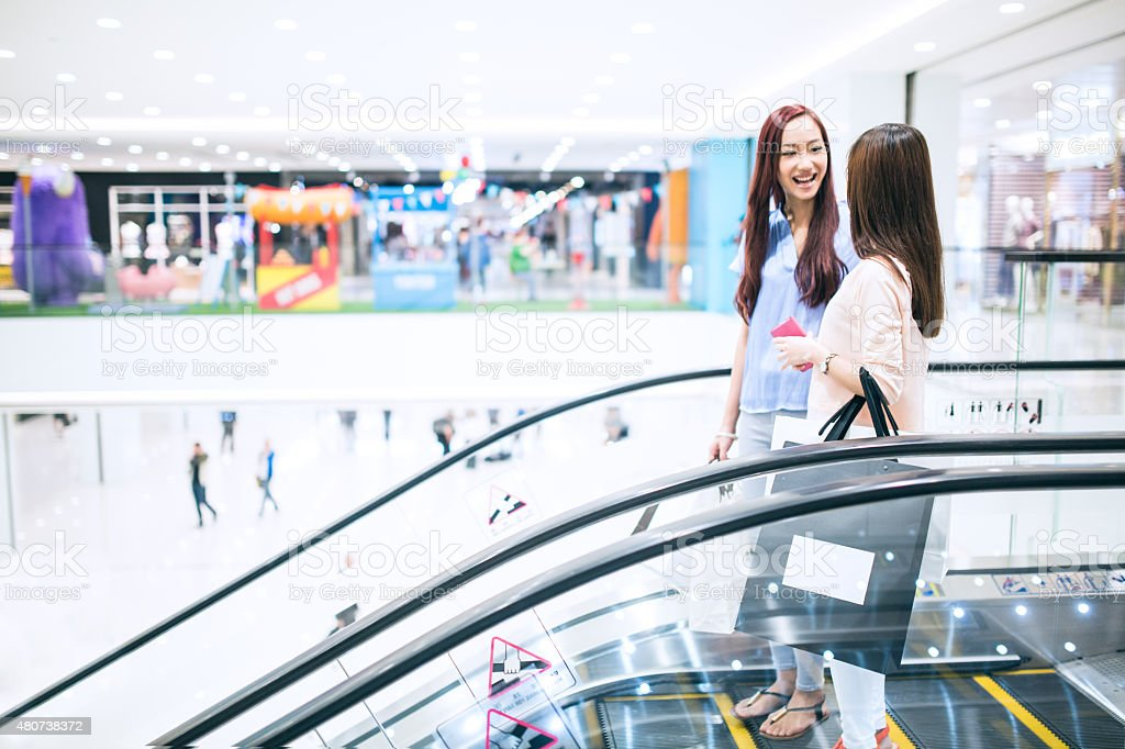 Friends Shopping Together In Mall stock photo