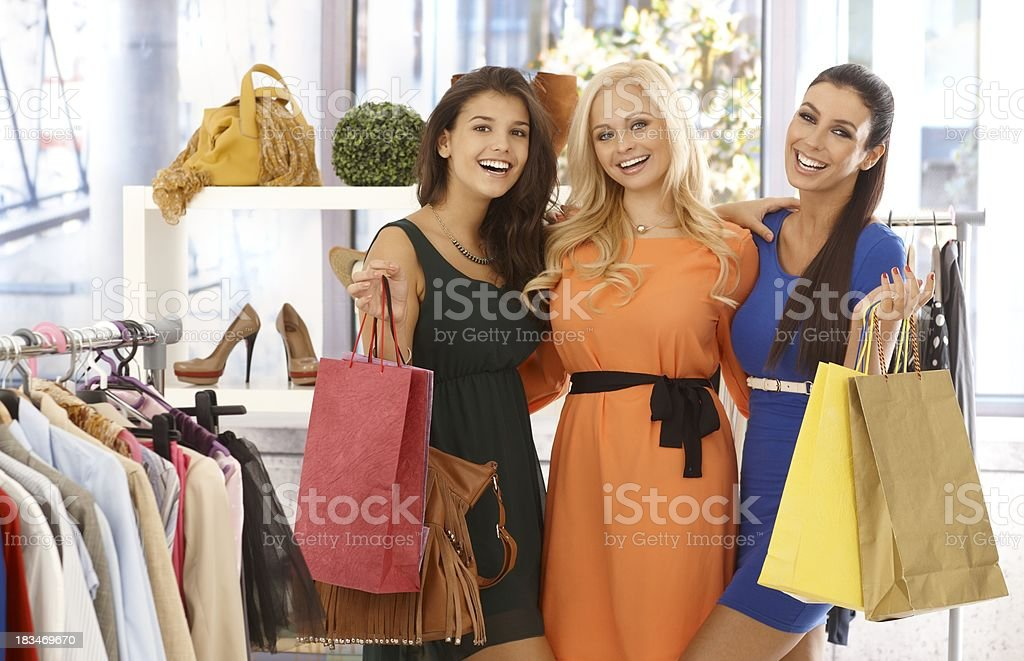 Friends shopping together royalty-free stock photo
