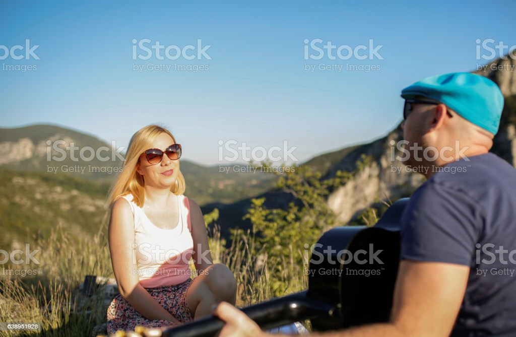 Friends Sing and Play Music stock photo