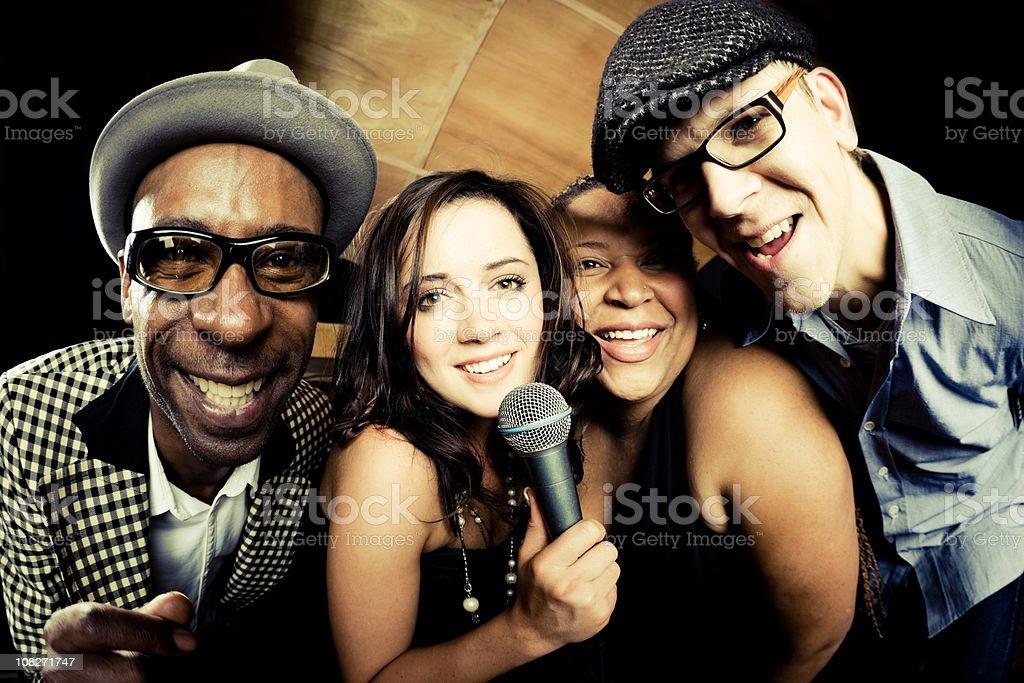 Friends Singing Together Karaoke royalty-free stock photo