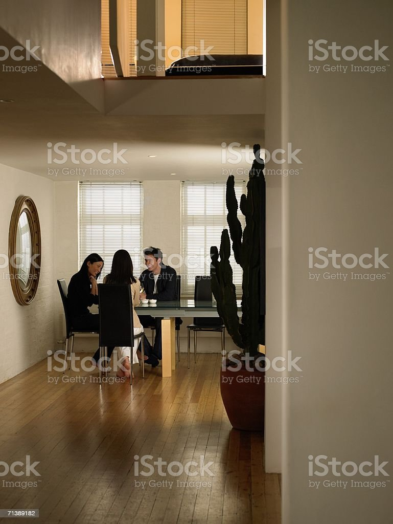 Friends sitting at dinner table stock photo