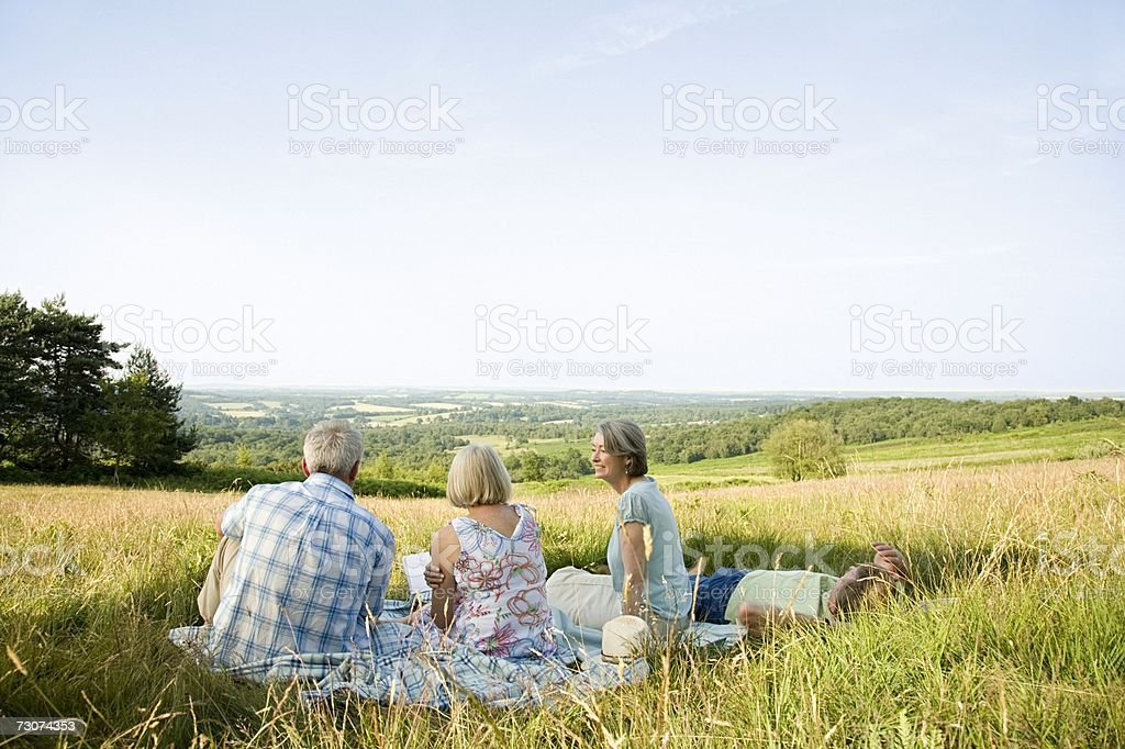 Friends sitting in a field royalty-free stock photo