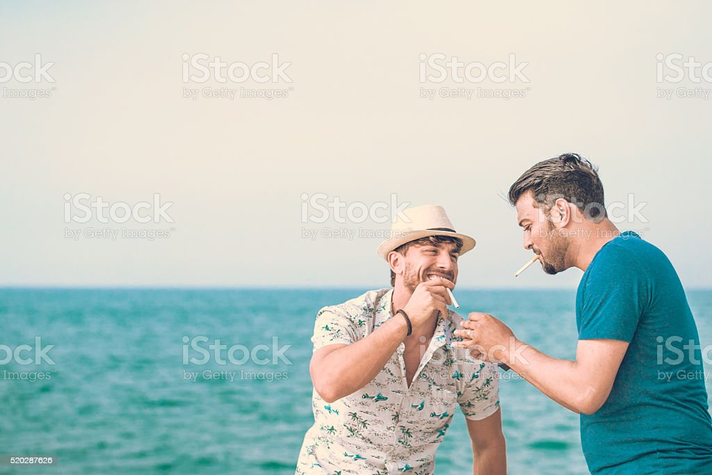Friends Smoking together stock photo