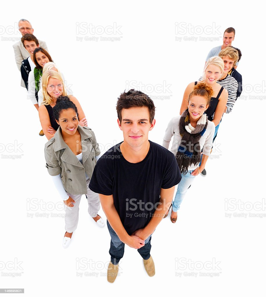Friends standing against white background royalty-free stock photo