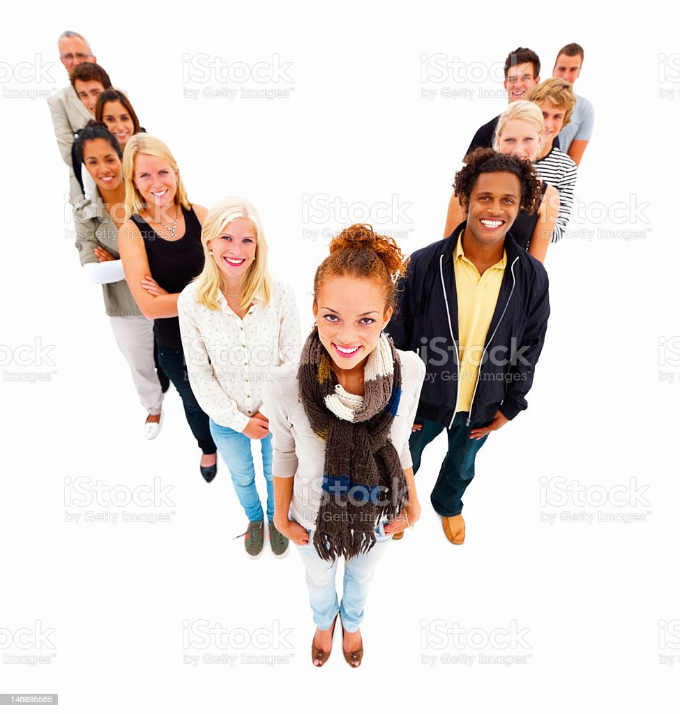 Friends standing in a row against white background royalty-free stock photo