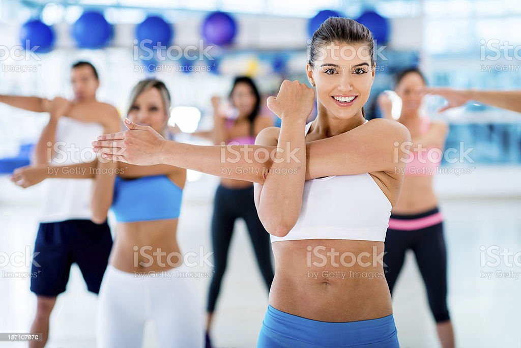 Friends stretching out royalty-free stock photo