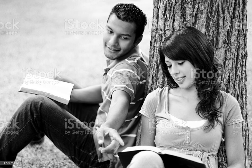 Friends studying b&w royalty-free stock photo