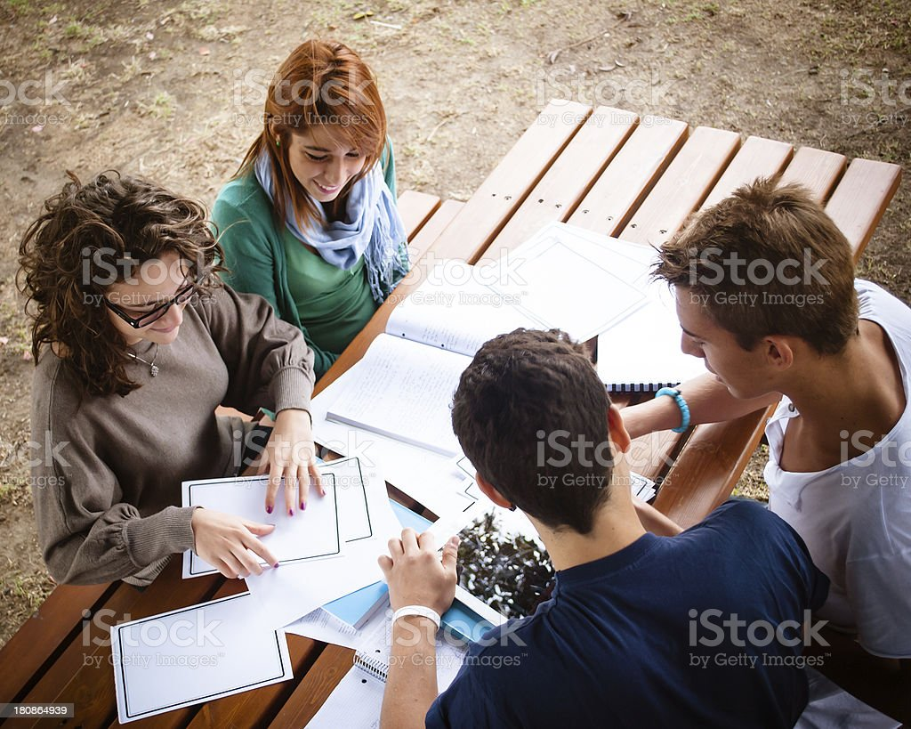 Friends studying outdoor royalty-free stock photo