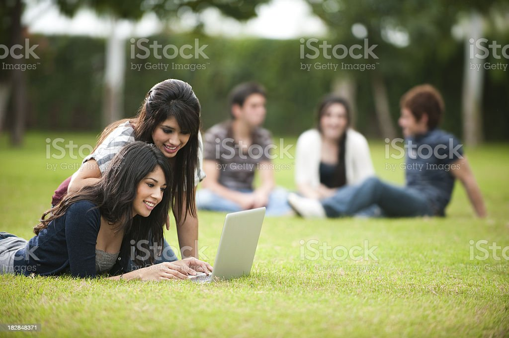 Friends studying together royalty-free stock photo