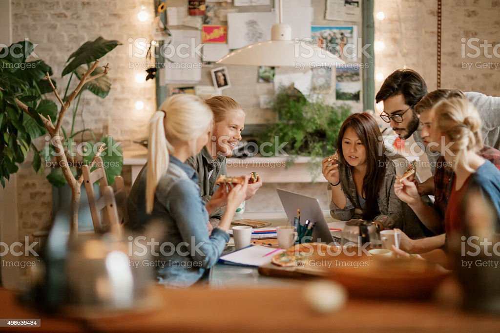 Friends studying together stock photo