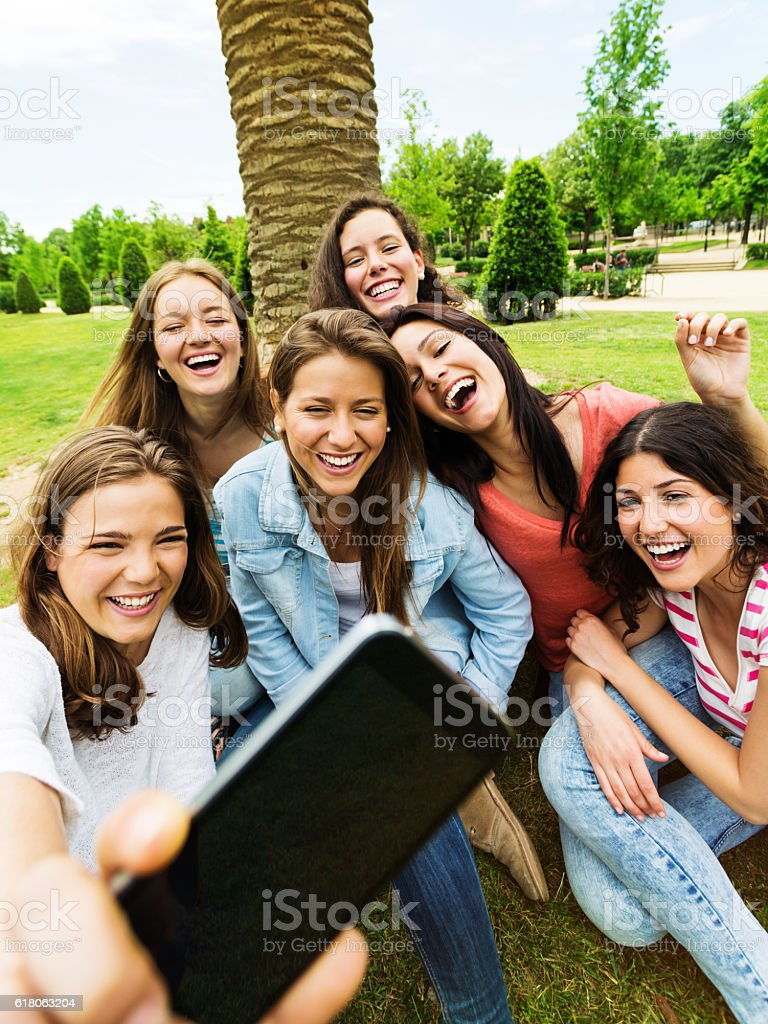 Friends taking a selfie with the smartphone in a park stock photo