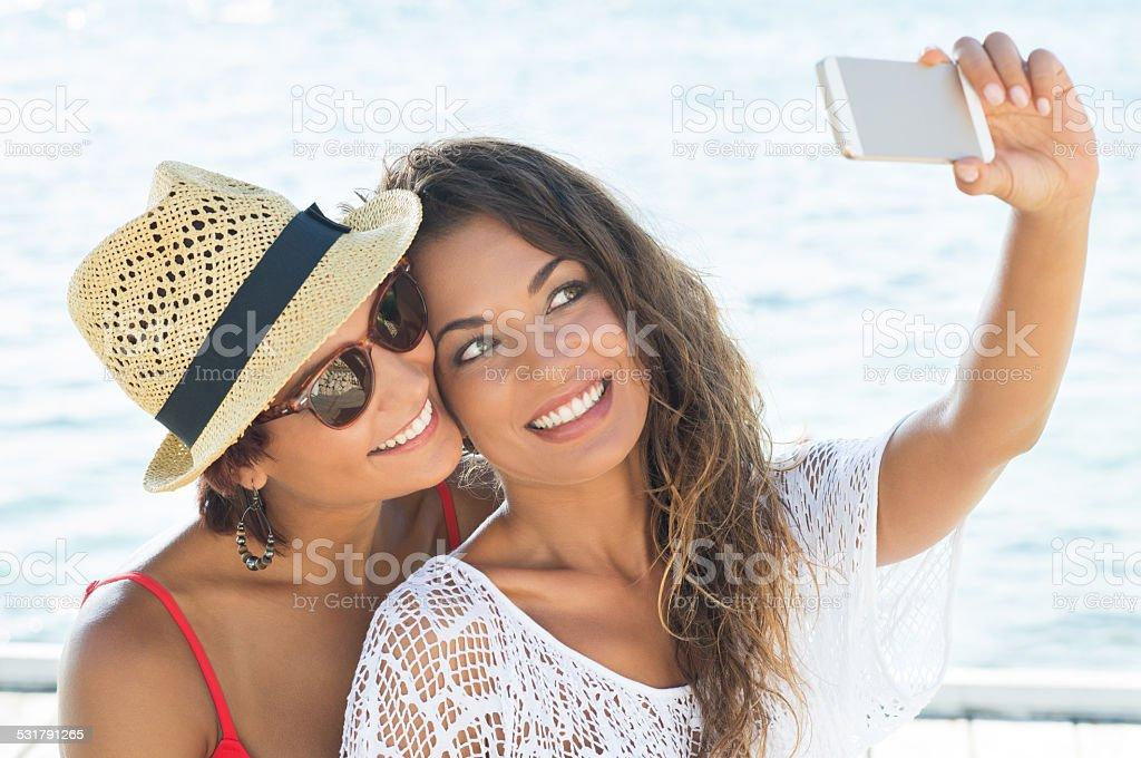 Friends Taking Self Portrait stock photo