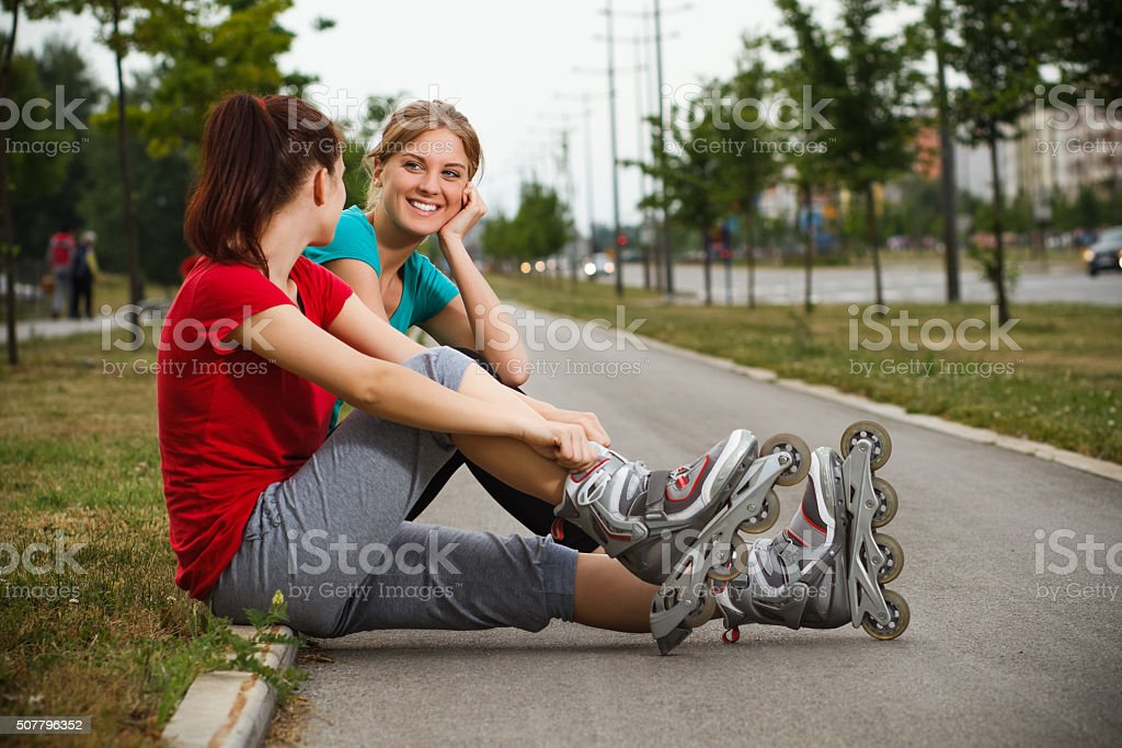 Friends talking after exercise stock photo