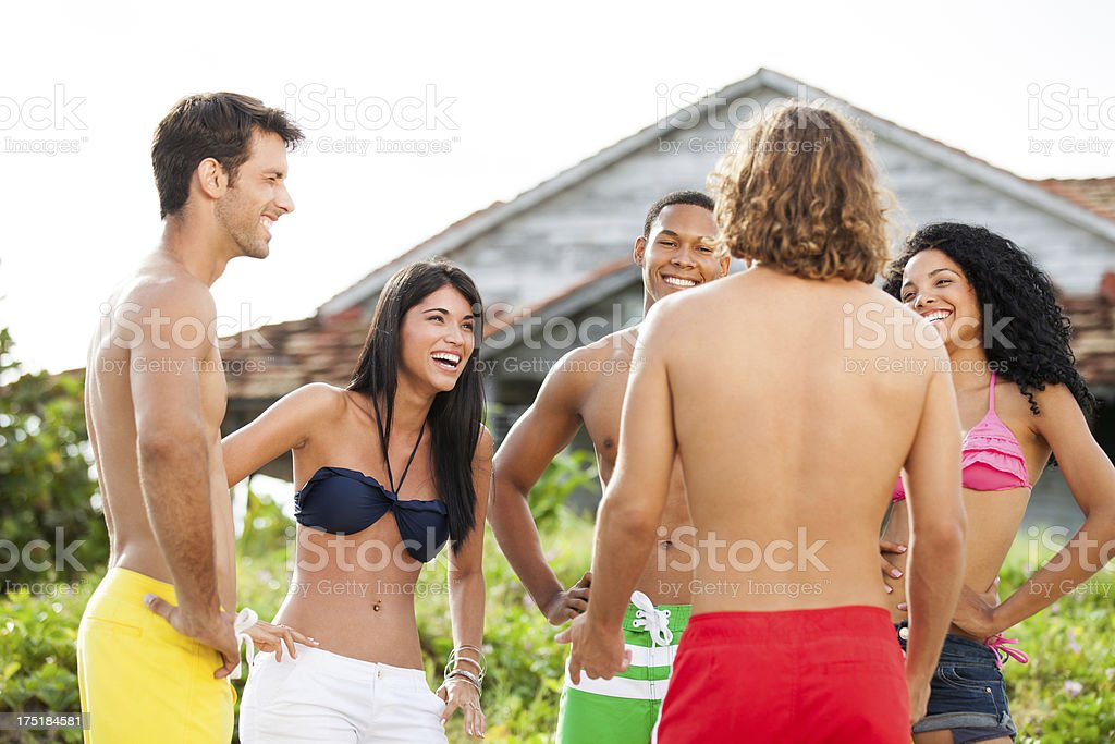 Friends talking and laughing royalty-free stock photo