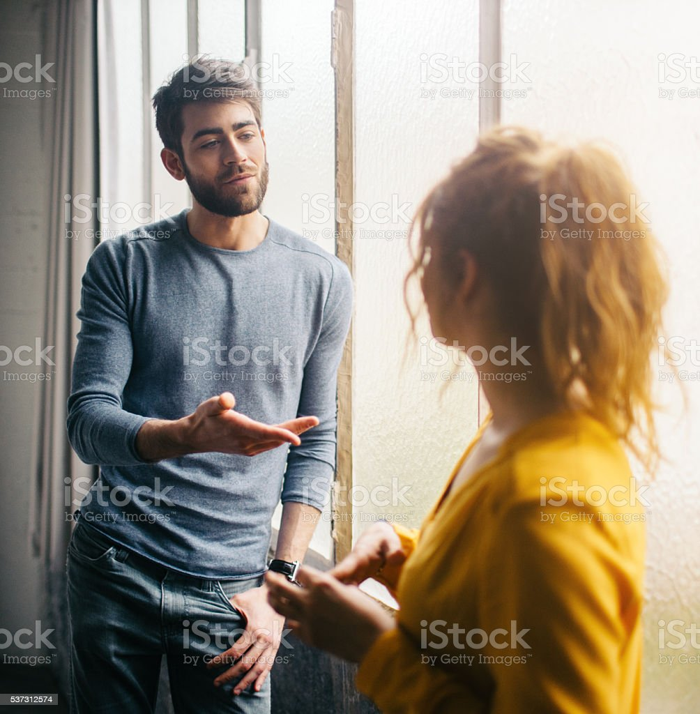 Friends talking stock photo