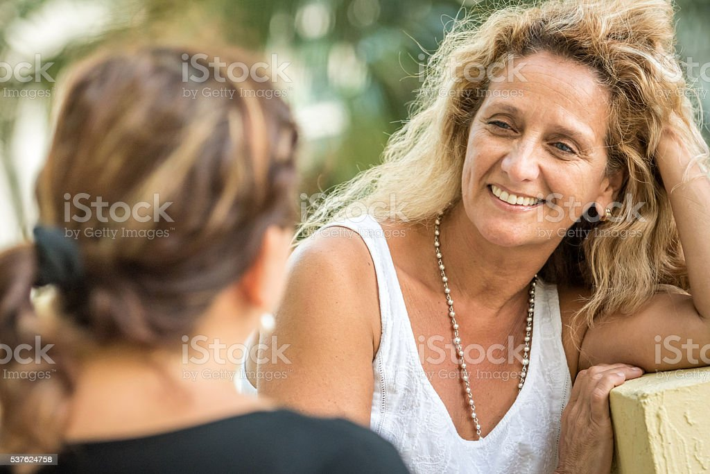 Friends talking royalty-free stock photo