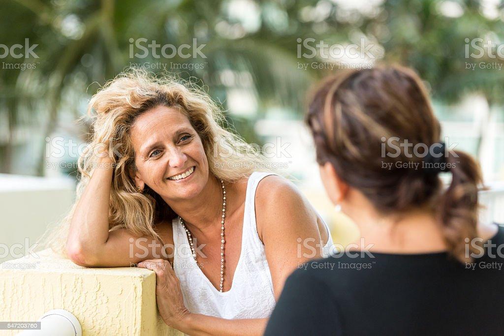 Friends talking stock photo