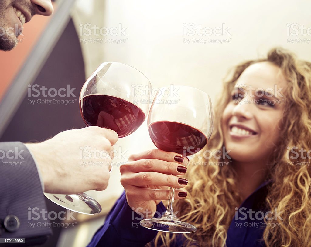 Friends toasting during Happy Hour royalty-free stock photo