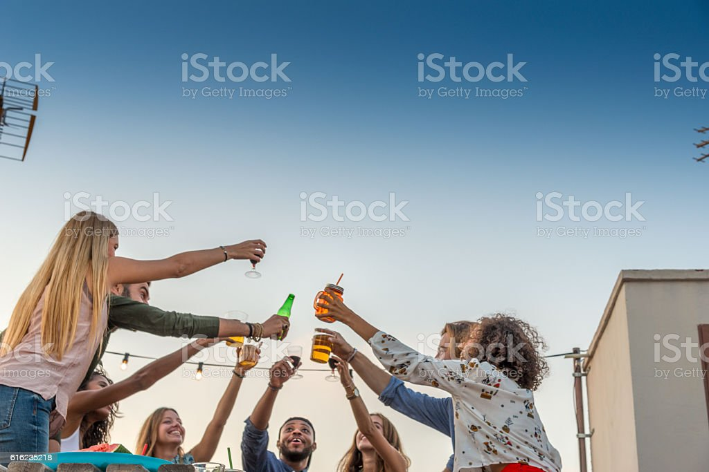 Friends toasting to life stock photo